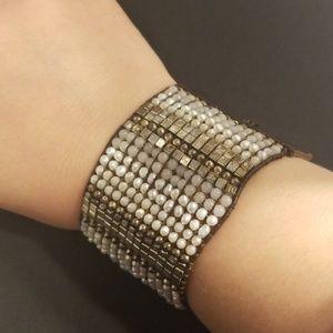 Nakamol Boho Beaded Leather Statement Bracelet